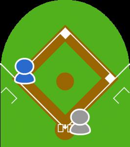 (1) 1アウト走者三塁。センターフライを打った