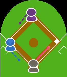 1.打者が送りバントをし打球は一塁前に転がった。