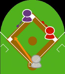 2.打者がサードゴロを打った。