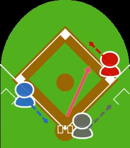 2.3塁走者が本塁に向かった。