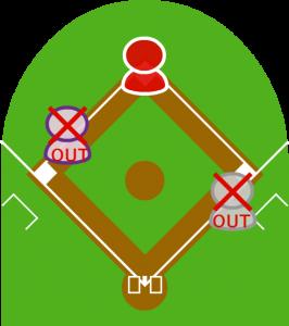 5.バッターは一塁アウト。