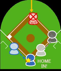 4.一塁走者も二塁に向かったが、センターはボールを拾って二塁に送球しタッチアウト。