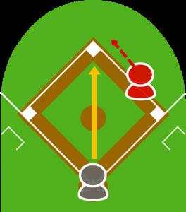 2.投球はボールだった。キャッチャーが二塁へ送球。