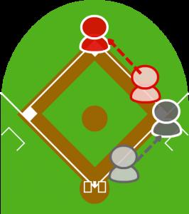 3.1塁走者は間に合ってセーフ。打者走者も一塁へ到達した。