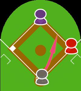 2.打者がセカンドに高いフライをを打ちあげた。