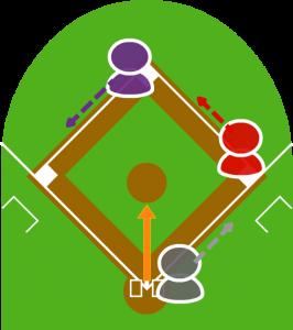 2.バントの打球がピッチャー前に転がり、走者はそれぞれ次の塁に向かった