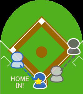 3.打者走者は一塁に到達。打ったと同時にスタートしていた3塁走者はホームインした。