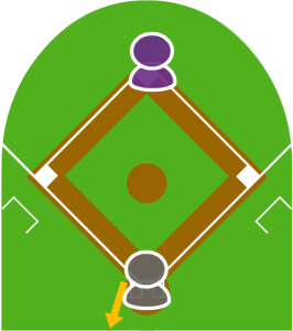 2.打者は空振りをし、キャッチャーがボールをこぼした。