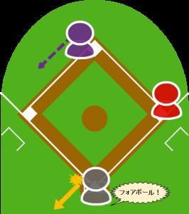 2.投球はワンバウンドし、キャッチャーはこれを弾いた。ボールと四球が宣告された。