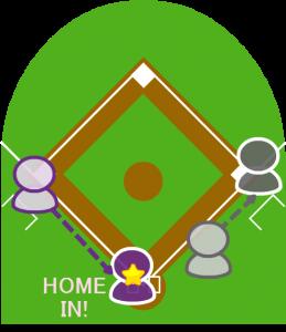 5.打者走者は一塁セーフになり、三塁に到達していた2塁走者も本塁に走りホームイン。