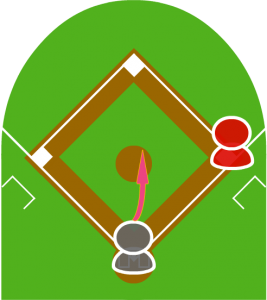 2.打者がバントをしたが、打球は高く上がりピッチャーフライになってしまい、1塁走者は一塁に戻った。