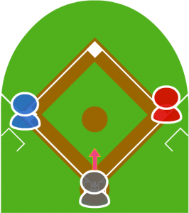 1.打者が犠牲バントをして打球がキャッチャーの前に転がった。