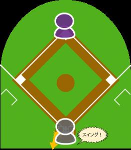 2.打者は空振りしたが、外角に構えていたキャッチャーがボールを後ろにそらした。