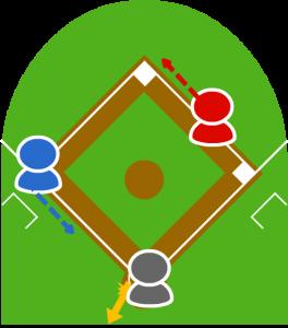 5.それを見て3塁走者は本塁に走った。
