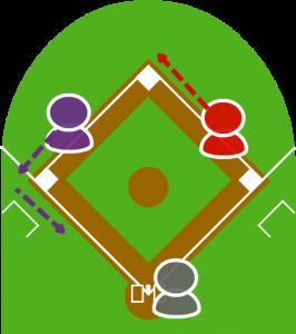 3.2塁走者はこれを見て三塁も回った。