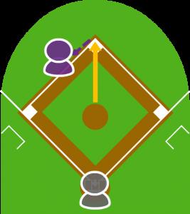 2.2塁走者は誘い出される形で二三塁間に挟まれた。