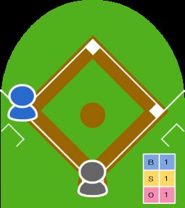 1アウト走者3塁 カウント1-1