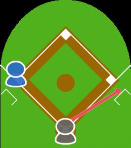 1.打者が一塁側へファウルフライを打った。