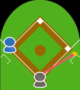 2.ファーストは捕球体勢に入ったがグラブに当てて落とした。打球はファウルゾーンに転がった。