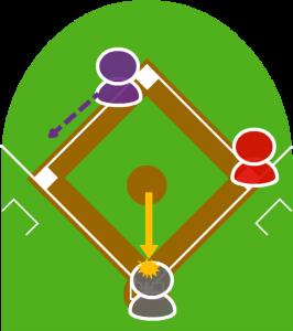 2.投球は打者にぶつかってしまった。
