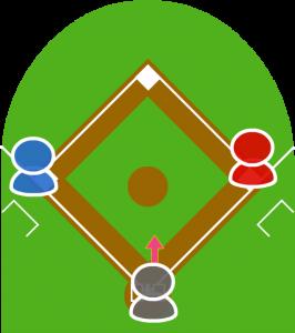 1.打者が犠牲バントをし、打球はキャッチャーの前に転がった。