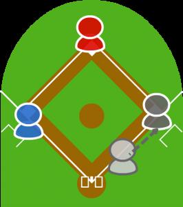 5.しかし3塁走者はとどまり、打者走者は無事一塁に到達した