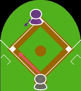 1.打者がサードゴロを打ち2塁走者は走り始めた。