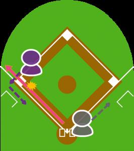 2.サードがこれをトンネルし、2塁走者は三塁を回った。