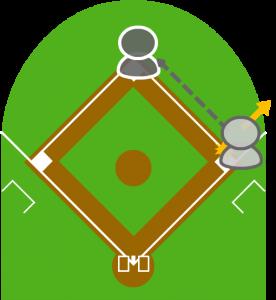 4.ボールはファースト後方に転がり打者走者は二塁に向かった。