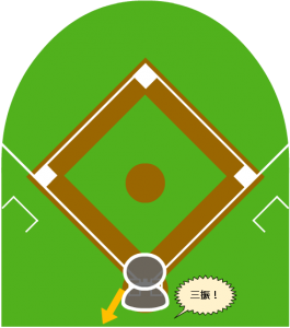 2.ボールが大きく変化し、打者は空振りした。キャッチャーはミットを伸ばしたが及ばず、ボールはバックネット裏まで転がった。