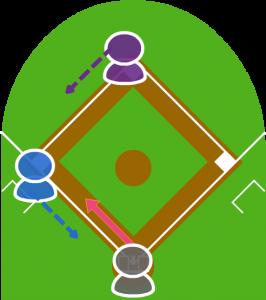 2.打者が三塁線に犠牲バントをした。