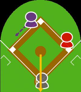 2.投球はキャッチャーのはるか上を通り、バックネットに当たった。