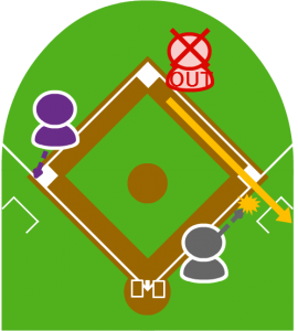 5.送球は一塁の頭上をを大きく超え、そのままダッグアウトに入ってしまった。