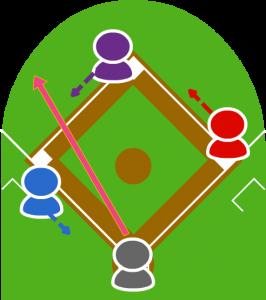 2.打者がレフト前にヒットを打った。