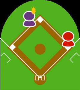 3.不意を突かれた2塁走者は二塁に戻れず、二三塁間に挟まれてしまった。