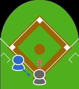 3.打者はスクイズをして打球はピッチャー前に転がった。