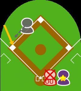 9.ボールを捕球したレフトは三塁に送球。