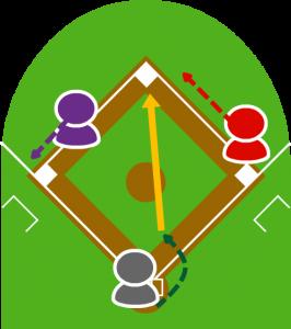 5.キャッチャーは慌ててファウルラインの中に入って停止する前のボールを拾い、二塁に送球した。