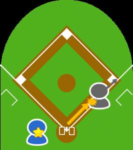 6.しかし、送球はフェア地域側を走っていた打者走者の背中に当たってしまった。