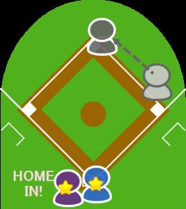 4.打者は二塁を踏んでからチームメイトの元に向かった。