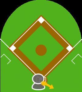 4.しかし投球はそのまま打者の足に当たり、ボールはキャッチャーの後方に転がっていってしまった。