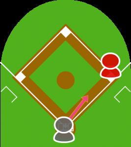 2.打者がバントをし、打球は前進守備をしていたファーストの前に転がった。