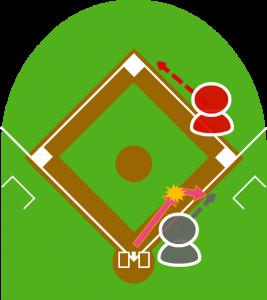 3.しかしファーストは打球を勢いよく弾いてしまい、打球は打者の走っている方向に。