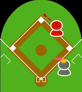 4.打者はそれに気付かず、スリーフットレーンで打球に当たってしまった。