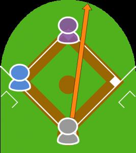 打者が大きなセンターフライを打った