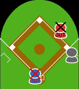 三塁走者は本塁タッチアウト